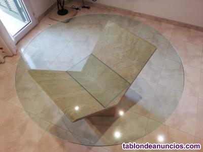 Mesa de mármol travertino (de comedor)