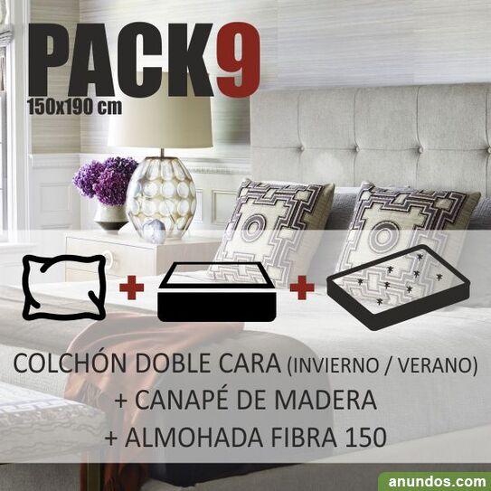 Pack cama 150x190cm colchón canapé almohada - nuevo -