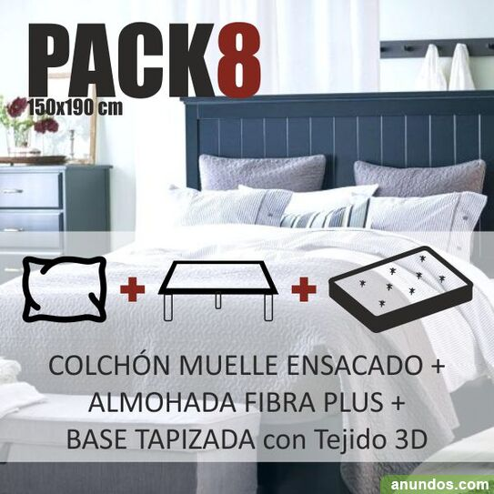 Pack cama nº x190cm colchón base tapizada almohada -