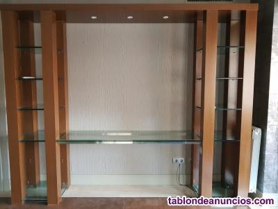 Mueble libreria madera-cristal