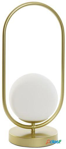Wellindal Lámpara Sobremesa Metal Cristal Oval