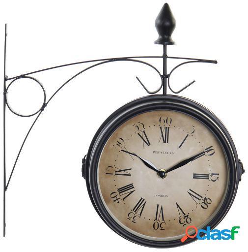 Wellindal Reloj Pared Metal Estacion Negro