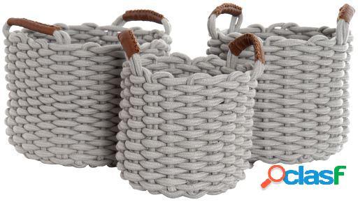 Wellindal Set de 3 cestas de algodón
