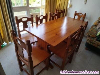 Mesa madera provenzal maciza+8 sillas