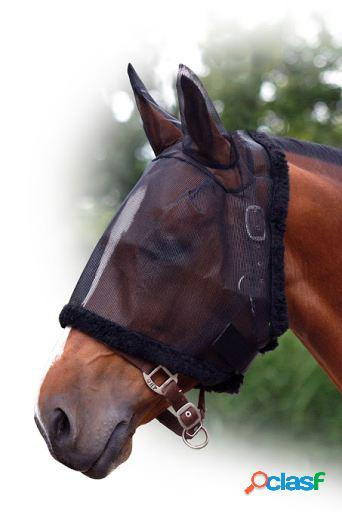 QHP Máscara antimoscas con orejeras Negro Pony
