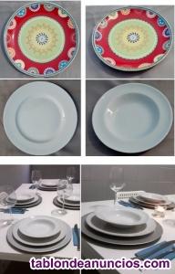 Vendo juego de platos decorados y juego de platos blancos