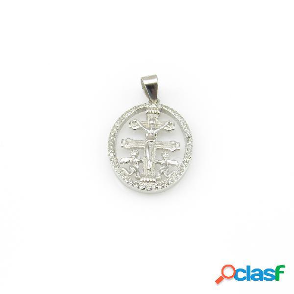 Medalla cruz de caravaca de plata de ley con circonitas