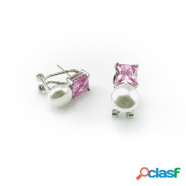 Pendientes de perlas con circonitas rosas plata y cierre