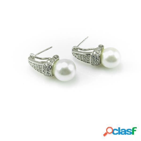 Pendientes novia en plata de ley rodiada con perlas y