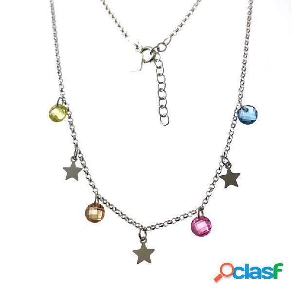 Gargantilla estrellas y circonitas colores en plata de ley