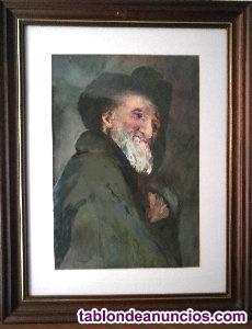 """Acuarela """"el viejo"""" 63 x 50 cm enmarcada"""