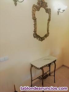 Conjunto espejo y mesa de bronce l15
