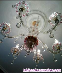 Lámpara techo de cristal.