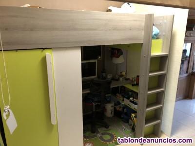 Cama con escritorio y armario