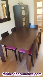Conjunto mesa comedor + 6 sillas + buffet a juego