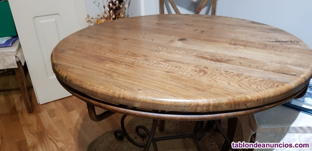 Mesa de madera maciza redonda