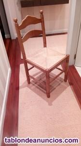 4 sillas de madera con asientos de enea
