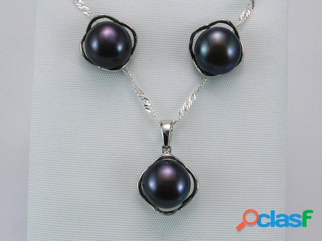 Conjunto perlas grises y plata de ley rodiada
