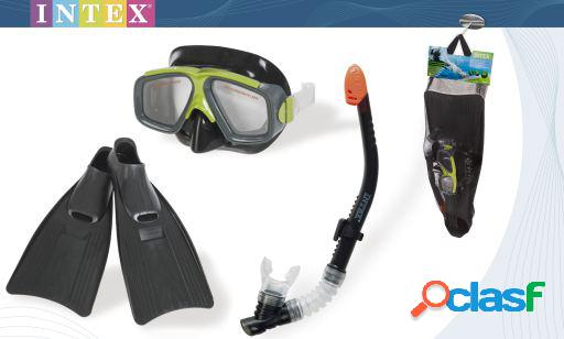 Intex Set Buceo Profesional Aletas con Gafas y Tubo