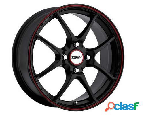 Kit 4 Llantas TSW Trackstar 4 negras aro rojo en 7 x 17