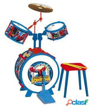 Marvel Bateria 3 Elementos Con Banqueta Spiderman