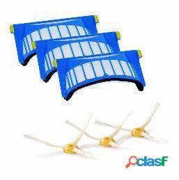 Pack de 3 filtros aerovac y 3 cepillos laterales Roomba