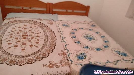 2 camas de 90 con somieres, cabeceros y colchones y 1
