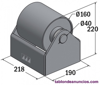 Rodillos de 160 mm y 200 mm para soporte rueda contenedor