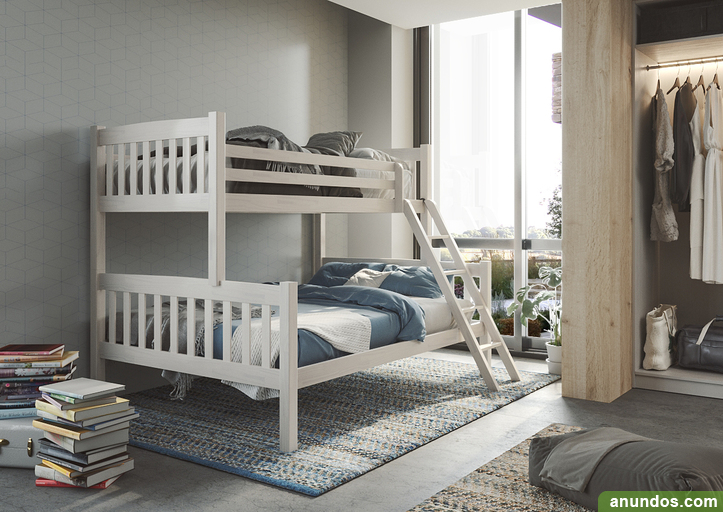Litera maciza con cama de matrimonio nueva de fabrica -