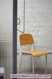 Silla madera y acero lacado en blanco