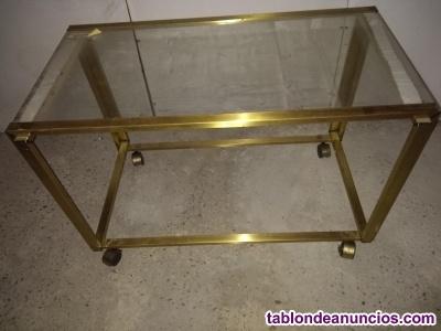 Mesa de centro metal dorado y cristal