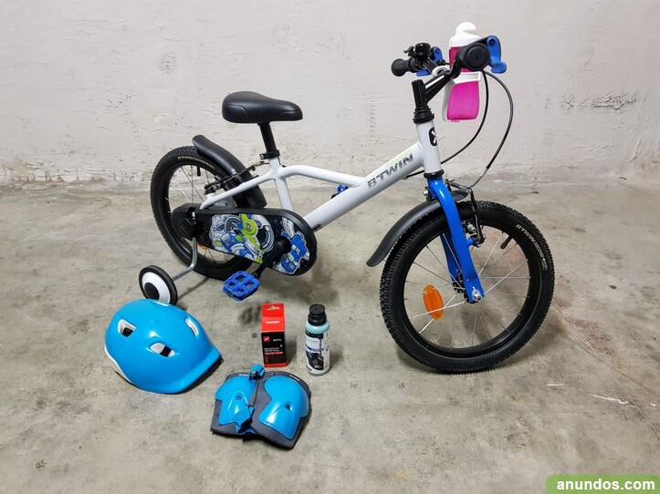 Bicicleta infantil de 16 pulgadas con ruedines -