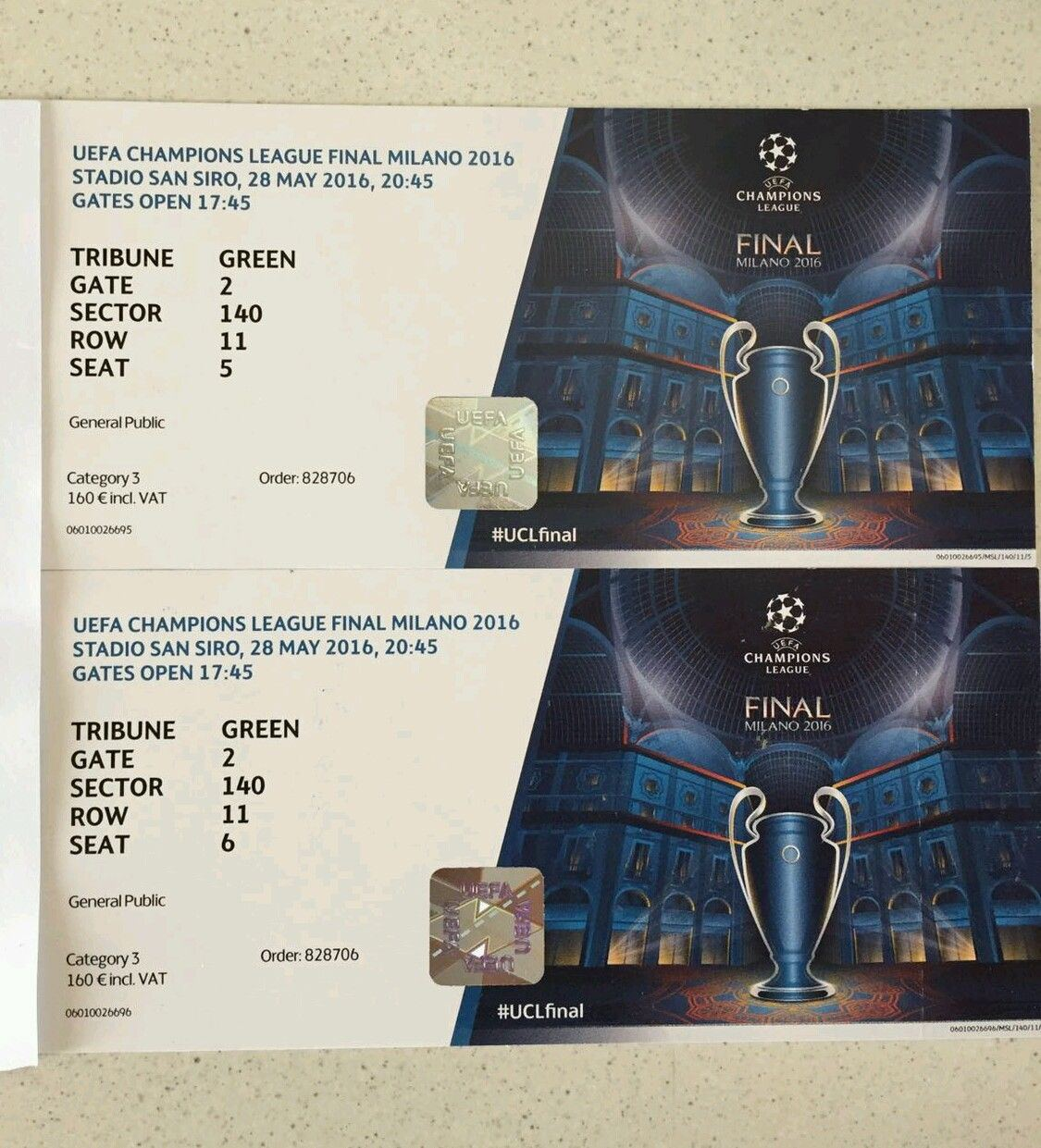 2 Entradas CAT 3 UEFA CHAMPIONS LEAGUE Final Milano  -
