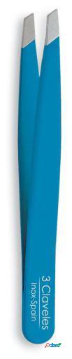 3 Claveles Pinza Depilar Sesgada Indico Azul 9.5 Cm