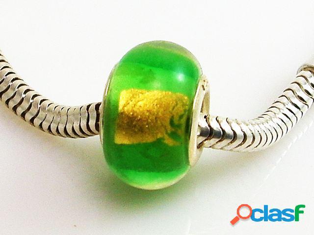 Abalorio de plata murano verde y dorado