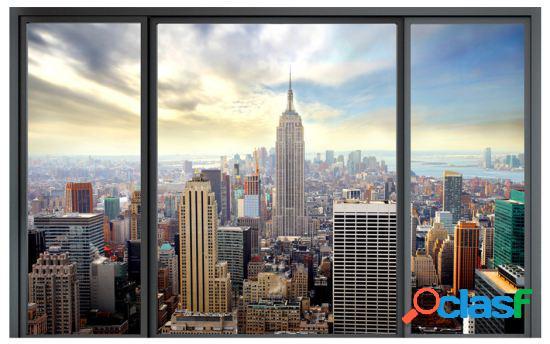 Artgeist Fotomural Ciudad detrás del vidrio 150x105 cm