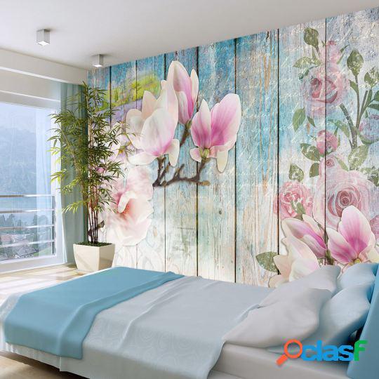Artgeist Fotomural Pink Flowers on Wood 100x70 cm