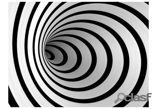 Artgeist Fotomural Un Túnel 3D En Blanco Y Negro 200x154 cm