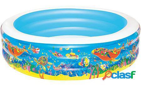 Bestway Piscina hinchable 3 anillos diseño acuario +6