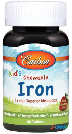 Carlson Labs Hierro para Niños Fresa 15 mg 30 Tabletas
