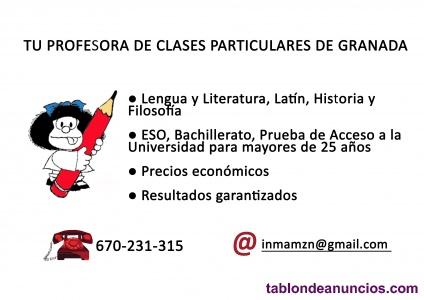 Clases particulares de lengua y literatura, latín, historia