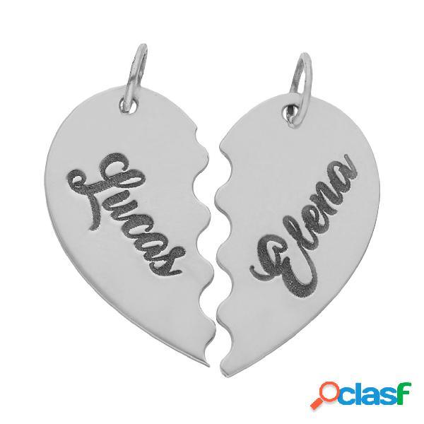 Colgante corazón partido personalizado con nombres de plata