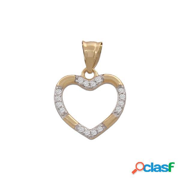 Colgante corazon de oro bicolor de 18 kl. con circonitas