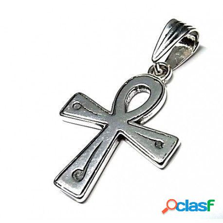 Colgante cruz de la vida de plata de ley