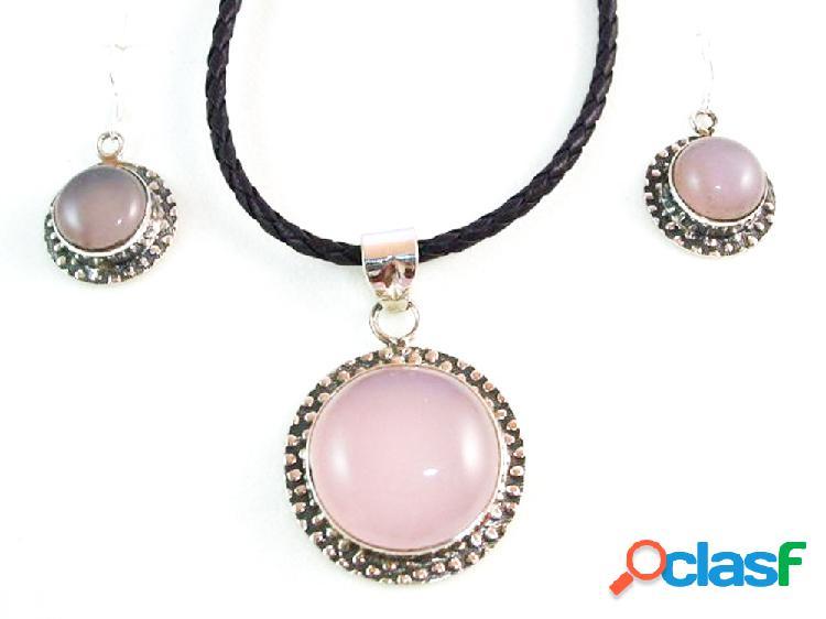 Conjunto pendientes y gargantilla cuarzo rosa y plata de ley