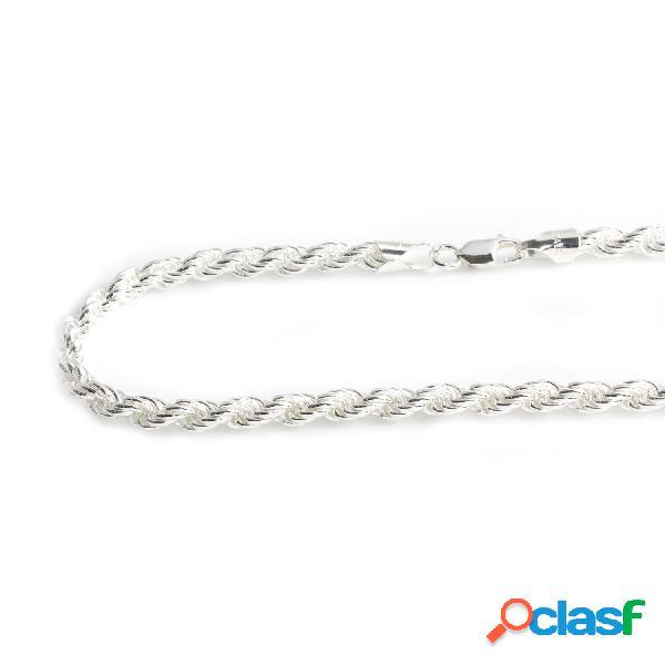 Cordón salomónico macizo de plata de ley 60 cm. 6 mm.