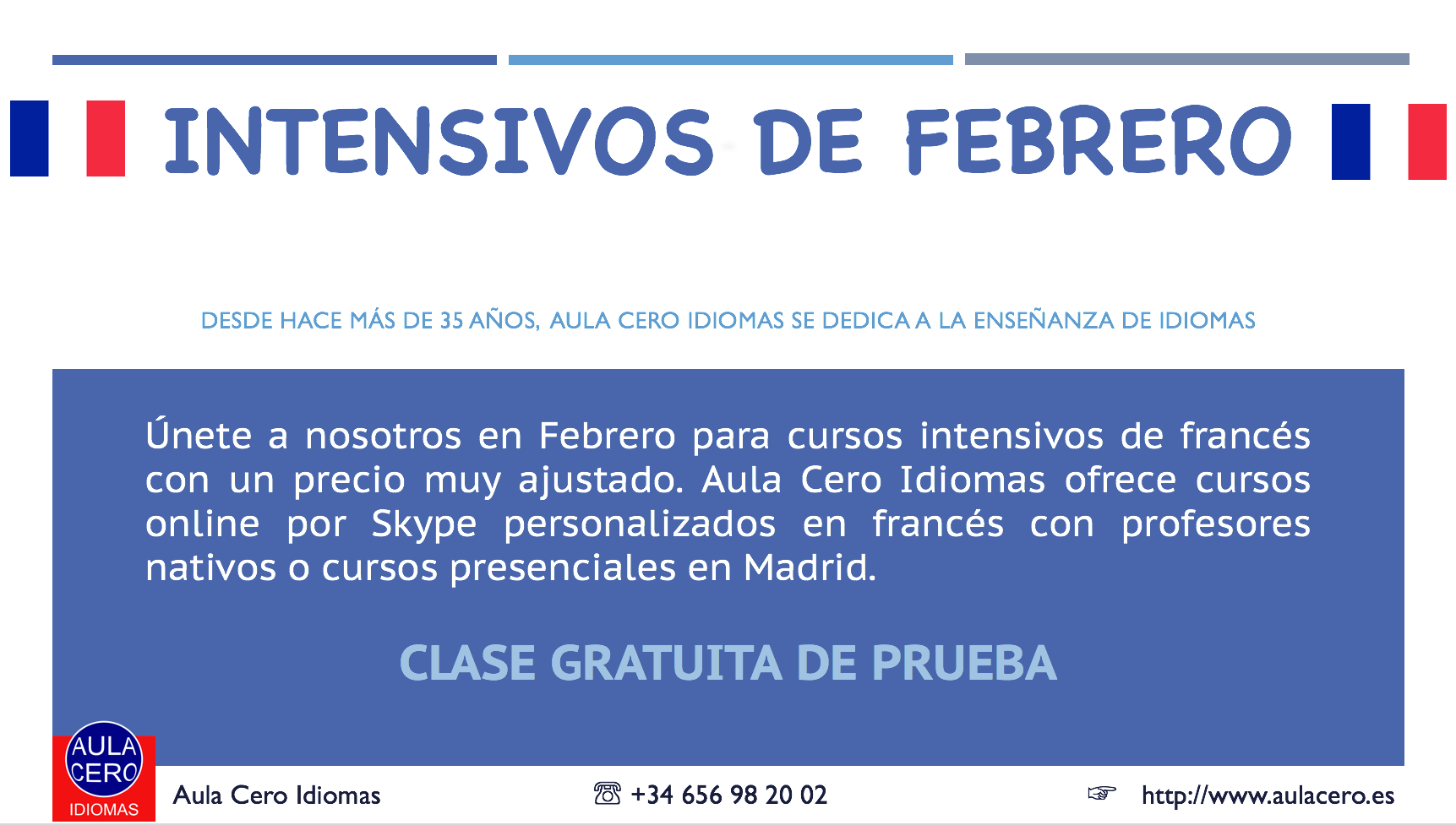 Cursos intensivos de Francés por Skype - Madrid