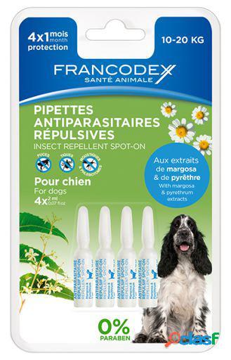 Francodex Pipetas Repelente Perro Mediano 10-20Kg 4 Pipetas