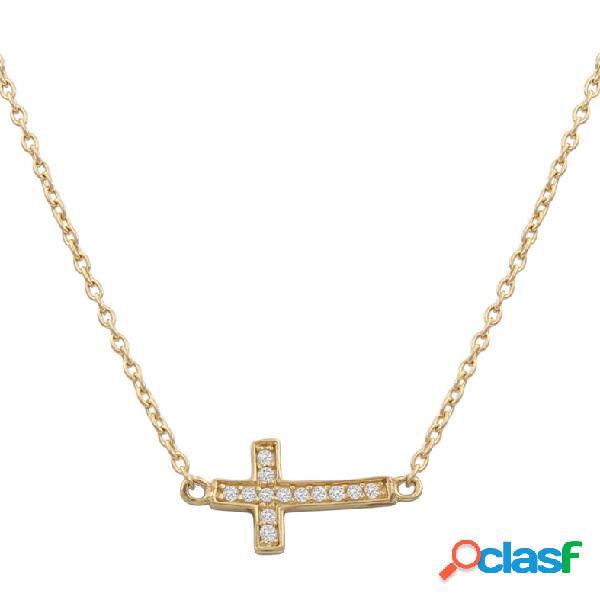 Gargantilla cruz tumbada de oro 18 kl y circonitas