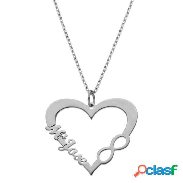 Gargantilla de plata de ley corazón+infinito con nombre